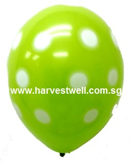 Sprayed Polka Dots (LIME GREEN) Helium Latex Balloon