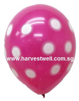 Sprayed Polka Dots (MAGENTA) Helium Latex Balloon