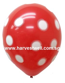 Sprayed Polka Dots (RED) Helium Latex Balloon