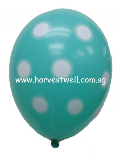 Sprayed Polka Dots (ROBIN EGG) Helium Latex Balloon