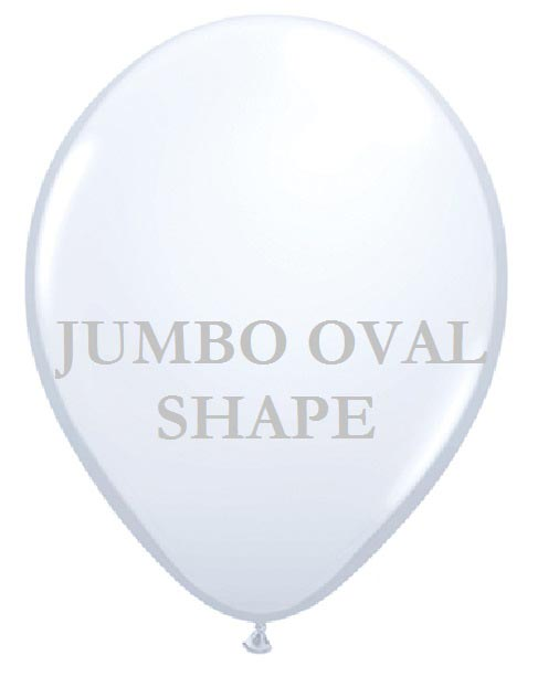 White Jumbo Oval Shape Helium Latex Balloon