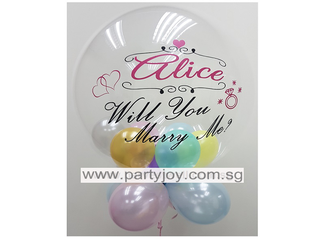 Will You Marry Me Classic Customize Bubble Balloon Size: 24""