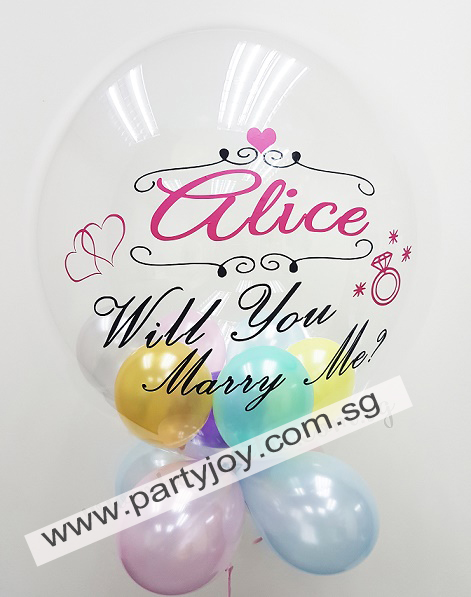 Proposal Customize Print On Bubble Balloon Size: 24""