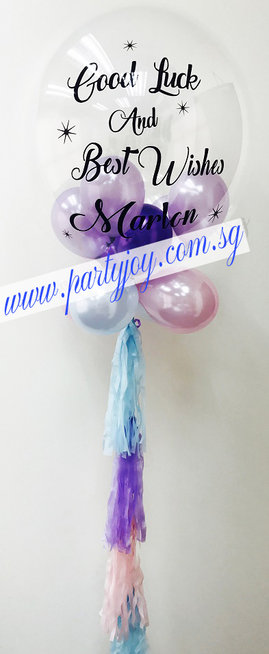 Best Wishes Customize Print On Bubble Balloon Size: 24""