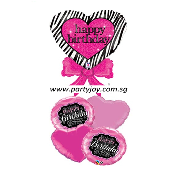 Heart Zebra Print Birthday Balloon Package
