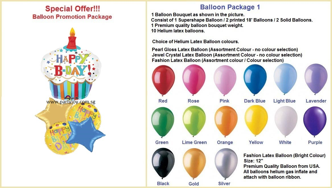 Happy Birthday Cupcake Balloon Package