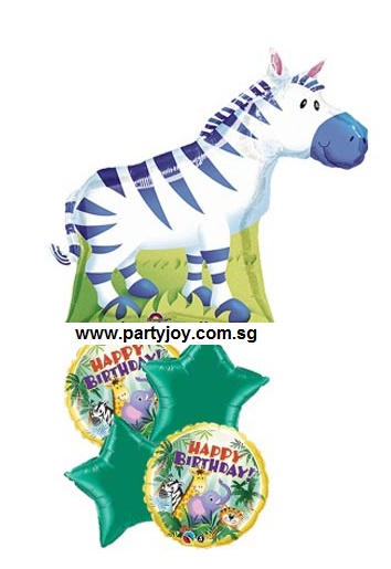 HBD Jungle Buddies(ZEBRA) Balloon Package