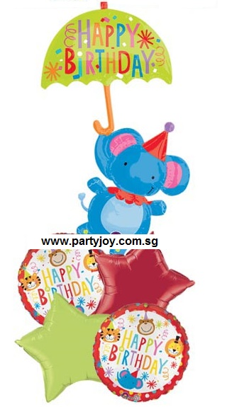 Happy Birthday Circus Elephant Balloon Package