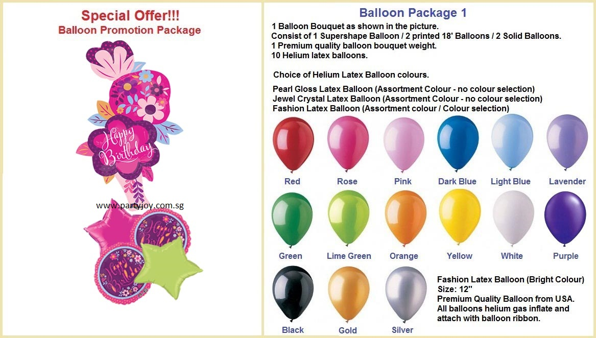 Hbd Dainty Floral Balloon Package