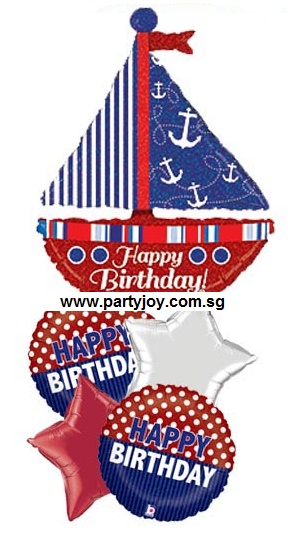 Happy Birthday Nautical Balloon Package