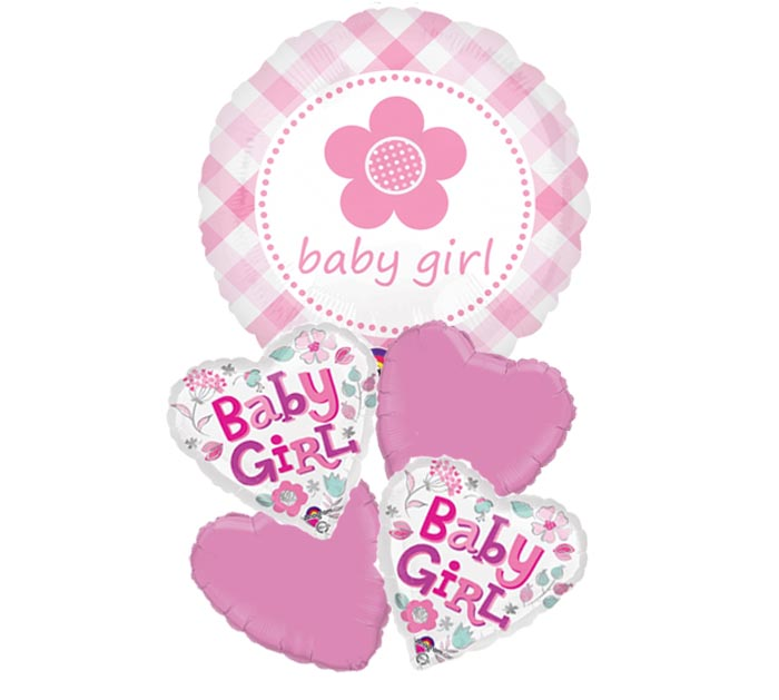Baby Girl Plaid Love Balloon Package