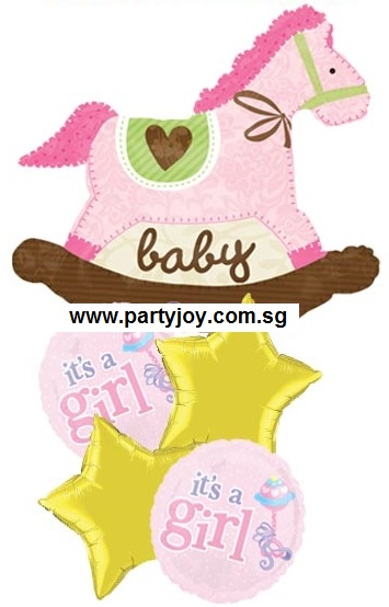Baby Girl Rocking Horse Balloon Package