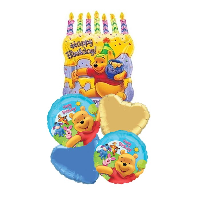 Winnie The Pooh Birthday Cake Party Balloon Package