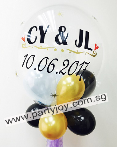 Wedding Customize Print On Bubble Balloon Size: 24""
