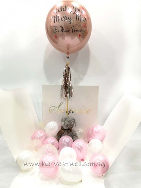 Customize Surprise Balloon Gift Box with MarryMe ORBZ Balloon