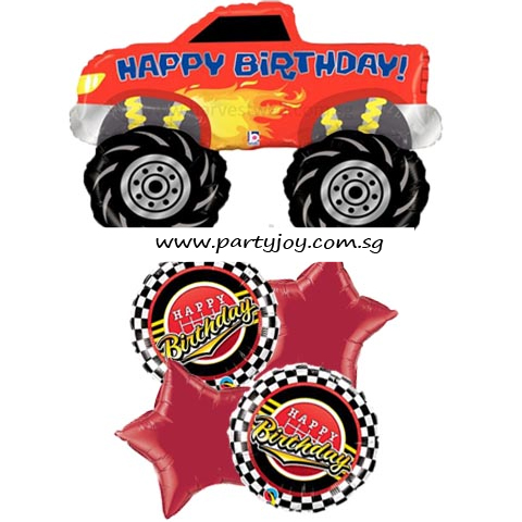 Happy Birthday Monster Truck Balloon Package