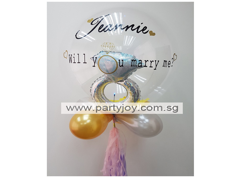 Will You Marry Me Sweet Heart Diamond Ring LED Balloon Size: 24""