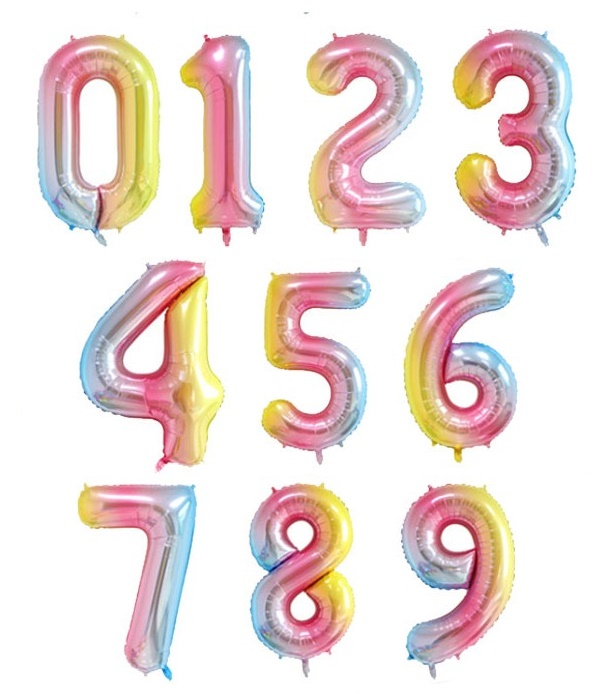 Megaloon Number Pastel Ombre Foil Balloon