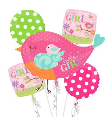 Welcome Baby Girl Pink Bird Balloon Package