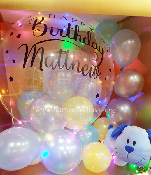 Customize Surprise Box with Happy Bday Bubble Balloon